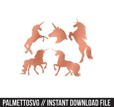 unicorns rose gold foil clip art, Svg, Cricut Cut Files, Silhouette Cut Files  This listing is for an INSTANT DOWNLOAD. You can easily create your