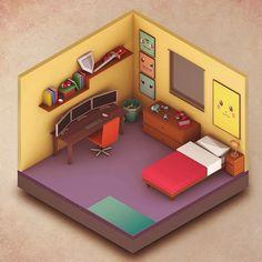 low poly bedroom - Pesquisa Google