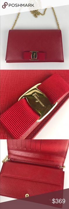 """Salvatore Ferragamo Miss Vara Wallet Crossbody Authentic. Gently used. Good condition inside and out.  A signature clutch wallet accented with logo-etched hardware, designed with an array of convenient pockets and card slots. 22"""" Chain removable crossbody strap. Snap closure; lined. 3 int slip pockets int snap compartment. Fits standard phone - """"Plus"""" sized phones fit but are tight. 7.5""""W x 1.5""""D x 4.5""""H Style 548927. RB706  Thank you for your interest!  PLEASE - NO TRADES / NO LOW BALL…"""