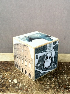 Changing Roman Landscape: ROMA / LUPA one large solid wood block collaged with 6 different images of Rome: ttp://www.etsy.com/shop/NoPlaceLikeRome