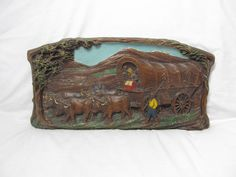 Vintage Syroco Oxen Covered Wagon Train Pioneers Going West Wall Plaque Painted