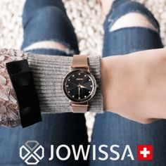 Black watches for women are very popular right now, especially with rose gold accents. They're classy and elegant for a chic, luxury look. A beautiful ladies watch, Swiss Made by Jowissa, will complement your favorite outfit perfectly! Gents Watches, Stylish Watches, Luxury Watches, Ladies Watches, Black Watches, Rose Gold Watches, Beautiful Watches, Beautiful Ladies, Gold Accents