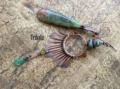 Rustic Asymmetrical Bohemian Festive Soul earrings by Tribalis