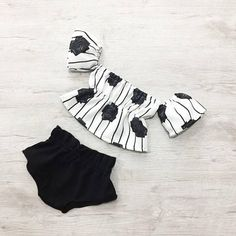 baby girl set summer outfit black white off the shoulder top shorts set vintage outfit baby girl outfit toddler set baby girl gift Baby Outfits, Girls Summer Outfits, Kids Outfits, Toddler Outfits, Baby Girl Fashion, Toddler Fashion, Kids Fashion, Fashion Hats, Dress Fashion