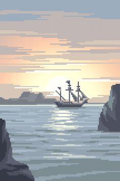 mazeon : pixel art — Pirate Ship Shown at 500 percent. Pixel Art Gif, Pixel Art Background, Pixel Animation, 8bit Art, Pixel Art Games, Vaporwave, Aesthetic Wallpapers, Game Art, Vector Art