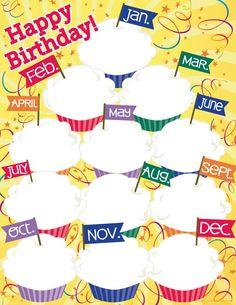 Dry Erase Classroom Charts 17 X 22 Birthday Cupcakes