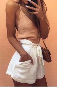 #summer #girly #outfitideas | Apricot Cami + White Shorts