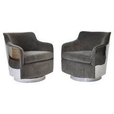 Pair of Milo Baughman Chrome Back Swivel Lounge Chairs
