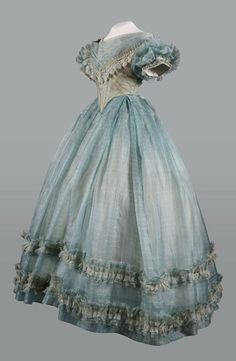 Evening dress, 1860′s done in beautiful sky blue.