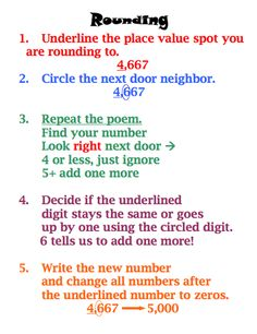 Here's a poster for students with rules for rounding. Need to change to the rounding rules that I use. Math journals!!!