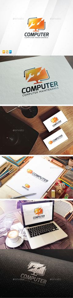 Computer Maintenance Logo — Photoshop PSD #fix #solutions • Available here → https://graphicriver.net/item/computer-maintenance-logo/13826421?ref=pxcr