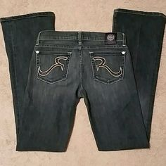 Rock & Republic Jeans Bootcut, Size 27, Inseam 32. Cotton/Polyester blend. One small pick on front of left leg. See picture. Rock & Republic Jeans Boot Cut