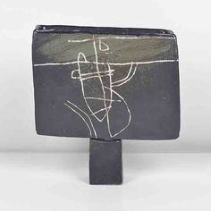 Vessel on Foot, circa Stoneware, rectangular form with matt black glaze, a white trailed and green brushed design of a fishing boat at sea be. Clay Vase, Art Art, Stoneware, Vases, Pots, Pottery, Fine Art, Studio, Nice