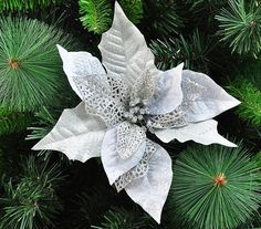Chegada nova decoração de natal suprimentos de prata flor enfeite de árvore de natal Festival casa jardim festa à noite uso em Decoração de natal de Casa & jardim no AliExpress.com | Alibaba Group