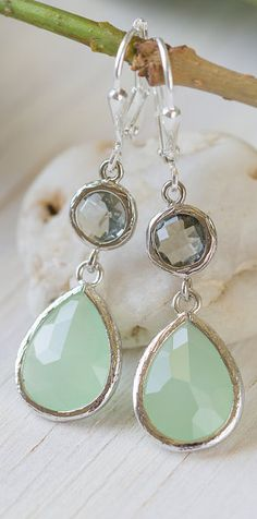 This style of earrings is just so appealing to me! This pair is icy and elegant but lightweight enough for long wear!