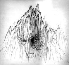 Hombre/montaña, plumilla y lápiz.