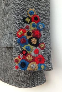 Harris Tweed Jacket Hand Embroidered by didyoumakeityourself