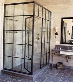 Douchewand/deur van staal en glas                                                                                                                                                                                 More