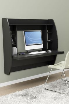 Small Space Innovations Floating Desk with Storage in Black