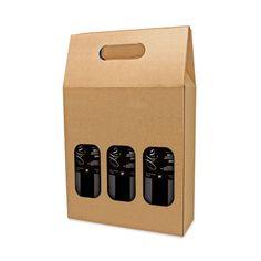 Caja de cartón para tres botellas de vino, viene desmontada y tiene dos ventanas para ver el interior. Personaliza tu merchandising hasta el final aquí.
