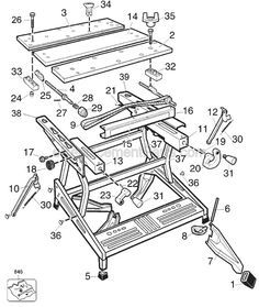 Black & Decker Workmate 425 (Type Parts and Accessories at PartsWarehouse Workshop Bench, Garage Workshop, Workshop Ideas, Woodworking Basics, Woodworking Projects, Woodworking Workbench, Workbench Table, Old Tools, Wood Plans