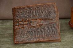 Men's Wallet Bifold Wallet Tan Brown Leather Wallet Faux Crocodile Alligator Pattern Wallet by SherryJewelry, $26.00