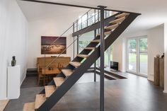 """Straight HPL staircase, steps in the wood type oak mosaic knotty oiled. Railing and parapet made of steel in the """"golden section"""" - Decoration Open Staircase, Floating Staircase, Stairs To Heaven, Contemporary Stairs, Closet Designs, Patio, Types Of Wood, Home Projects, Decoration"""