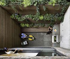 Modern West Village renovation with back garden patio —love the vertical garden West Village, Vertical Gardens, Small Gardens, Landscape Design, Garden Design, House Design, Design Jardin, Wall Design, Narrow House