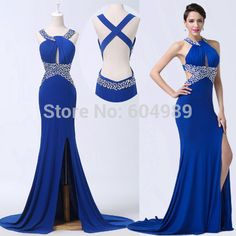 Cheap dress jewelry, Buy Quality dresses wear birthday party directly from China dress materials for sale Suppliers: Halter Sexy Slit Backless Royal Blue Long Prom Evening Dress to party Special Occasion Formal Maxi Dress 6277Tips: