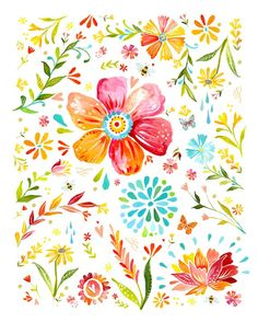 Posies Floral Art Print Watercolor Painting by thewheatfield