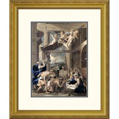 "Global Gallery 'Adoration of The Shepherds' by Nicolas Poussin Framed Painting Print Size: 26"" H x 21.96"" W x 1.5"" D"