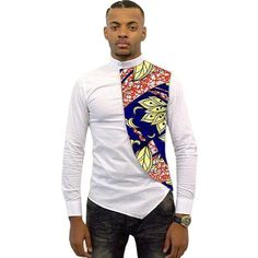 Clothing Type: Men's Shirts, Casual Shirt, African Shirts, Africa Clothing Sleeve Length(cm): Full Pattern Type: Patchwork Fabric Type: Batik Style: Casual Material: Cotton Collar: Henry Collar