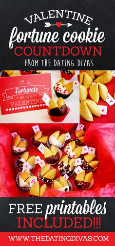 A DIY Valentine's countdown using customized Valentine's fortune cookies! This is so cute. Free printables included to make it too. www.TheDatingDivas.com