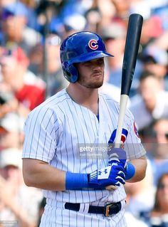 Chicago Cubs center fielder Ian Happ reacts after striking out during the game between the St. Louis Cardinals and the Chicago Cubs on July 2017 at Wrigley Field in Chicago, Illinois. Baseball Guys, Cubs Baseball, Baseball Cards, Chicago Illinois, Chicago Cubs, Wrigley Field, The St, Cubbies, Cardinals