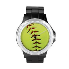 #softball #sports #watch Yellow softball ball wrist watch