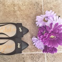 Sam Edelman Pointed Toe Flats Brand new without box Sam Edelman flats. Pointed toe and gold bow detail. Very chic and trendy shoes small heel in the back can be dressed up or even down. Sam Edelman Shoes Flats & Loafers