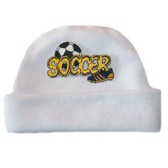 887abb194ae Baby Boys  White Soccer Hat. Newborn and Preemie Baby Boy Hats