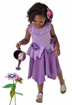 Lemon Loves Lime Girls Lilac Purple Rose Garden Dress