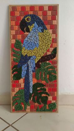 Illustration in stained glass style bird parakeet on branch tropical tree agains. Butterfly Mosaic, Mosaic Birds, Mosaic Bottles, Mosaic Glass, Mosaic Crafts, Mosaic Projects, Mosaic Designs, Mosaic Patterns, Mosaic Animals