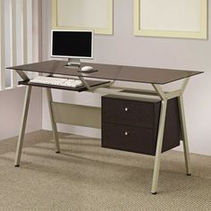 Marvelous Computer Desk With Drawer Designs Inspiration : Awesome Glass Top Computer Desk with Drawers and Keyboard Storage also Beige Carpet for Awesome Home Office Furniture Design