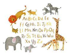 Jungle Nursery Art--Jungle Alphabet--by Kit Chase