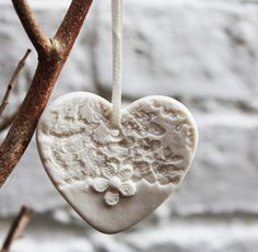 Porcelain White Heart Christmas Decoration | notonthehighstreet.com