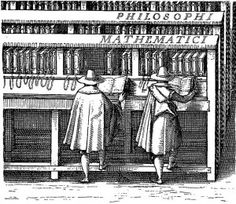 """Bookcases with books shelved edge-out in the library of the University of Leiden: J. C. Woudanus print (1610). From """"When Books Were Shelved Backwards,"""" article on Ephemeris blog."""