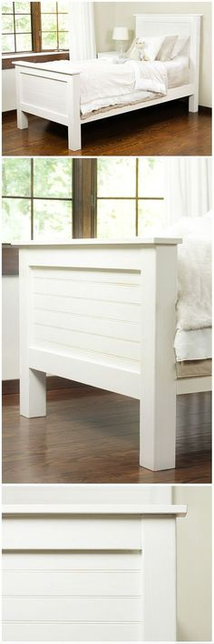 This charming DIY bed frame was made with tongue and groove pattern stock board, giving it a faux shiplap look. Make this bed frame yourself! Get the step-by-step instructions on The Home Depot Blog.: