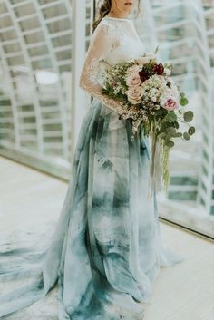 blue tied dyed two piece wedding dress / http://www.deerpearlflowers.com/etsy-finds-dip-dyed-ombre-wedding-dresses/