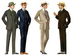 1915 SUMMER ATTIRE: Mens suits, hats and shoes - Compared to the late Victorian styles, suits are taking on a more modern look. Straw hats for summertime.