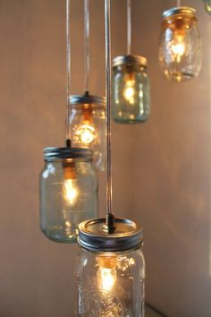 Fun idea for the patio? River Rain  Mason Jar Chandelier Hanging Pendant Swag by BootsNGus, $185.00