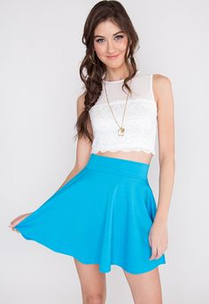 Dandelion Skater Skirt - Blue from Shop Priceless. Shop more products from Shop Priceless on Wanelo. Girls In Mini Skirts, Teen Fashion, Womens Fashion, Silhouette, Latest Fashion Trends, Dandelion, Unique, Outfits, Skirt