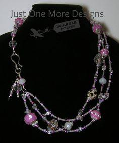 Lavender & Clear Glass Multi-strand Necklace