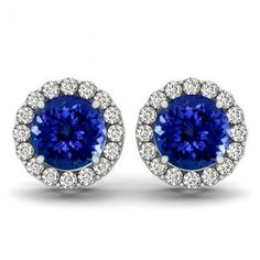 Make your wedding day memorable with this .90ctw Round Tanzanite Earring.Find this at toptanzanite.com.